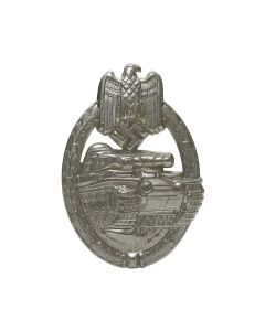 PANZER ASSAULT BADGE IN SILVER HOLLOW BACK  (NICKEL SILVER)