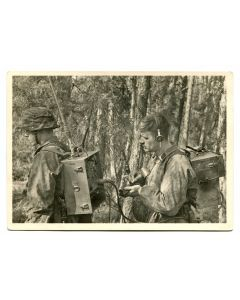 "BATTLE OF THE SS MOUNTAIN DIVISION ""NORTH"" IN KARELIA POST CARD""OUR RADIO MEN IN THE FOREST"""