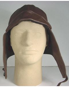 GERMAN BROWN LEATHER AVIATOR HELMET