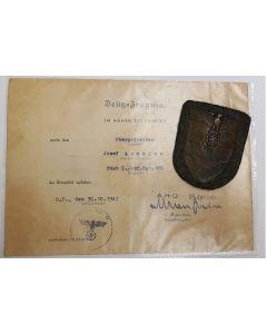 CRIMEAN CAMPAIGN SHIELD & AWARD DOCUMENT SIGNED BY ERICH VON MANSTEIN