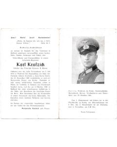 GERMAN WWI DEATH CARD FOR INFANTRY REGIMENT UNTEROFFIZIER AND GRUPPENFUHRER KARL KRAFZICK