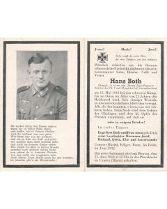 GERMAN WWI DEATH CARD FOR PANZERJAGER OBERGRUPPENFUHRER HANS BOTH