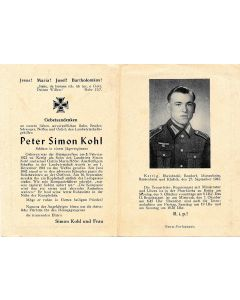 GERMAN WWI DEATH CARD FOR INFANTRY REGIMENT SNIPER PETER SIMON KOHL