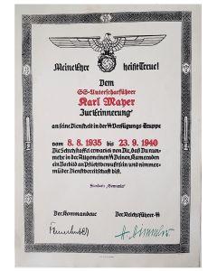 ERINNERUNG DER SS VT SS UNTERSCHARFUHRER KARL MAYER SS STANDARTE GERMANIA UND LSSAH