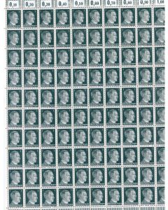 FULL AND COMPLETE GERMAN WWII HITLER HEAD STAMP SHEET OF 100 STAMPS 1 RPF VALUE.
