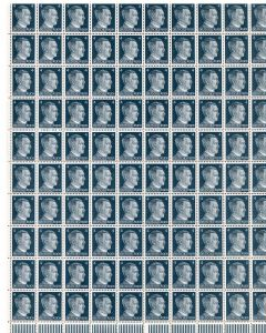 FULL AND COMPLETE GERMAN WWII HITLER HEAD STAMP SHEET OF 100 STAMPS 4 RPF VALUE.