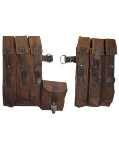 GERMAN AGED MP38/40 MAGAZINE POUCH SET TAN CANVAS ww2