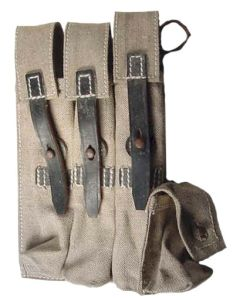 ww11 GERMAN MP40 POUCH TAN CANVAS WITH BLACK LEATHER STRAPS