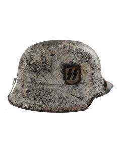 GERMAN WW2 M42 WINTER CAMOUFLAGE HELMET SS SINGLE DECAL