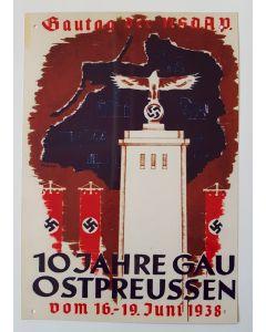 GAUTAG DER NSDAP 10 JAHRE OSTPREUSSEN METAL SIGN