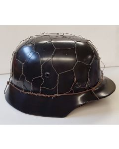 GERMAN AGED 1/2 BASKET CHICKEN WIRE HELMET COVER