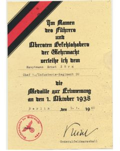 GERMAN 1ST OCTOBER 1938 MEDAL HAUPTMANN ERNST ZORN CHEF 1./ INFANTERIE REGIMENT 90 DOCUMENT