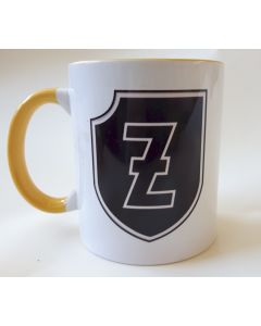 """GERMAN 4th SS PANZER GRENADIER DIVISION """"POLIZEI"""" YELLOW AND WHITE COFFEE CUP"""