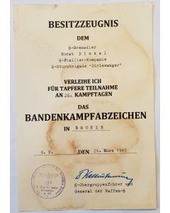 GERMAN ANTI PARTISAN SS GRENADIER HORST DINKEL  DOCUMENT