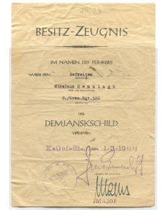 GERMAN AWARD DOCUMENT DEMJANSK SHIELD ORIGINAL