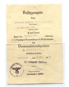 GERMAN AWARD DOCUMENT DERMUNDETENABZEICHEN #2