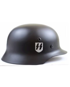 GERMAN BLACK SS M40 STEEL HELMET WITH SS SINGLE DECAL