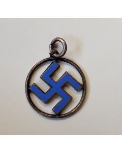 GERMAN BLUE SWASTIKA CIRCLE PENDANT
