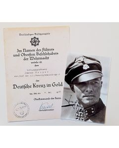 GERMAN CROSS AWARD DOCUMENT AND PHOTO FOR PEIPER