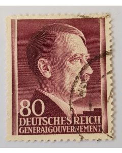 GERMAN DEUTSCHES REICH 80 GENERAL GOUVERNEMENT HITLER 1941 STAMP
