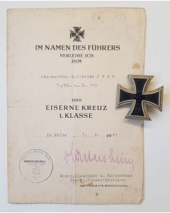 GERMAN WW2 IRON CROSS 1ST CLASS 1939 MEDAL WITH IRON CROSS AWARD DOCUMENT 11 PANZER DIVISION