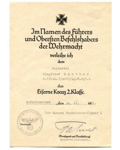 GERMAN IRON CROSS 2ND CLASS AWARD DOCUMENT