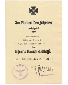 GERMAN IRON CROSS 2nd CLASS SS STURMMANN WOLFRAN POST 1./SS NEBELWERFER ABT 2 DAS REICH DOCUMENT