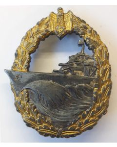 GERMAN KRIEGSMARINE DESTROYER WAR BADGE MAKER  S.H.u.Co.