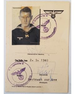 GERMAN KRIEGSMARINE MATROSE KARL RUBER  DOCUMENT