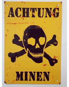 GERMAN LAND MINE WARNING METAL SIGN