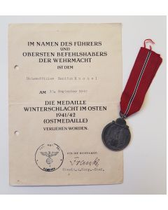 GERMAN OPERATION BARBAROSSA WW11 EASTERN FRONT MEDAL WITH AWARD DOCUMENT TO OBERGEFREITEN HERMANN SENGHAS
