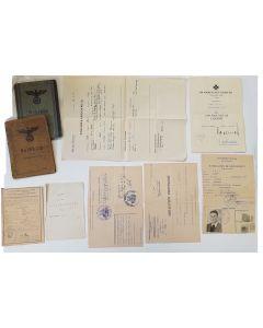 GERMAN ORIGINAL WW2 DOCUMENT GROUPING FOR JOSEF BAIL