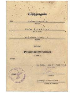GERMAN PANZER ASSAULT SILVER SS OBERSCHARFUHRER STEFAN RICHTER 4./SS PZ AUFKL ABT 9 HOHENSTAUFEN DOCUMENT