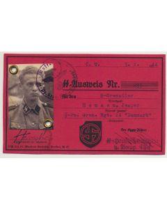 GERMAN SS AUSWEIS SS GRENADIER JESPER HANSEN SS PZ GREN RGT 24 DANMARK DOCUMENT