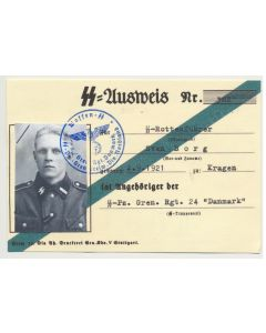 GERMAN SS AUSWEIS SS ROTTENFUHRER SVEN BORG SS PZ GREN RGT 24 DANMARK DOCUMENT
