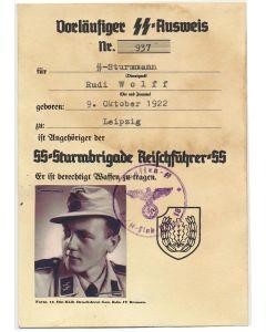 GERMAN SS AUSWEIS SS STURMMANN RUDI WOLFF 2./SS FLAK ABT 16 DOCUMENT