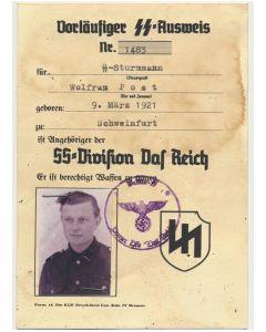 GERMAN SS AUSWEIS SS STURMMANN WOLFRAN POST 1./SS NEBELWERFER ABT 2 DOCUMENT