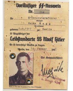 GERMAN SS AUSWEIS SS UNTERSCHARFUHRER HEINZ MAGG 5./LSSAH DOCUMENT