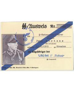 GERMAN SS AUSWEIS SS UNTERSCHARFUHRER PETER BURTEN 1./ERSATZ BTL SS WESTLAND DOCUMENT