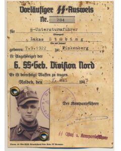 GERMAN SS AUSWEIS SS UNTERSTURMFUHRER LUKAS STUBING 1.SS-SKI JAGER BTL. NORGE DOCUMENT