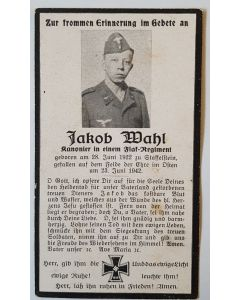 GERMAN SS DEATH CARD FOR JACOB MAHL ORIGINAL