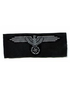 GERMAN SS HAT BADGE EAGLE GREY BEVO STYLE ENLISTED MAN
