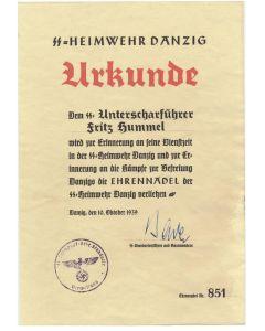 SS HEIMWEHR DANZIG SS UNTERSCHARFUHRER FRITZ HUMMEL