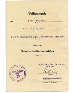 GERMAN SS ROTTENFUHRER ROLF MULLER 3.SS GEBIRGSJAGER RGT 11 REINHARD HEYDRICH DIVISION NORD DOCUMENT