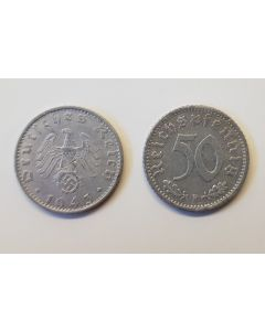 GERMAN THIRD REICH COIN - 50 REICHSFENNING