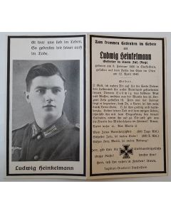 GERMAN WAFFEN SS DEATH CARD FOR LUDWIG HEINKELMANN ORIGINAL