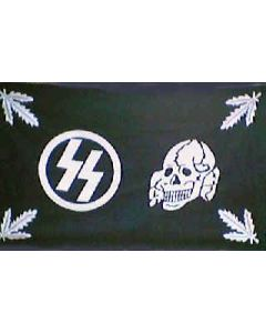GERMAN WAFFEN SS HEADQUARTERS SKULL LEAVES FLAG Poly
