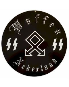 "GERMAN WAFFEN SS NEDERLAND METAL SIGN 14"" X 14"""