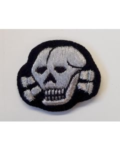 GERMAN WAFFEN SS OFFICER'S TOTENKOPF BULLION CAP SKULL
