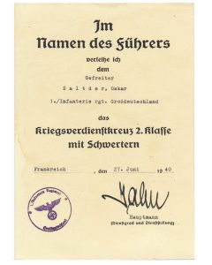 GERMAN WAR MERIT CROSS 2ND CLASS WITH SWORDS GEFREITER OSKAR ZALTDER 1./INF RGT GROSSDEUTSCHLAND DOCUMENT